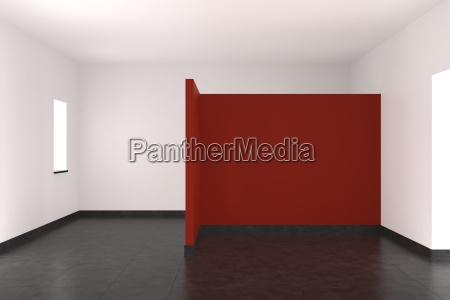 modern empty interior with red wall
