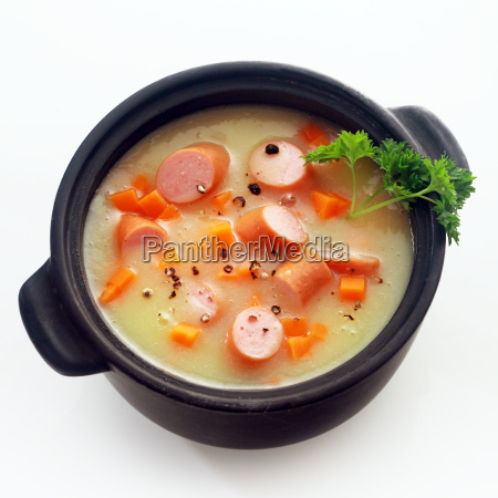 appetizing creamy soup dish with sausage