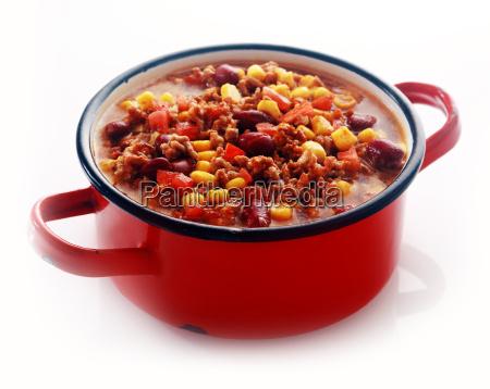 one full red pot of appetizing