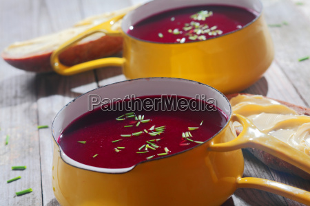 close up tasty beetroot soups on