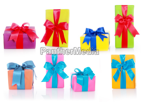 assorted sizes and colors gift boxes