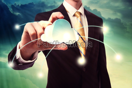 businesman holding cloud computing icon