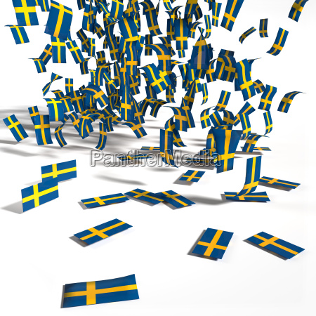 many labels and flags of sweden
