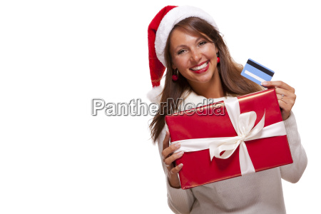 attractive woman with red santa claus