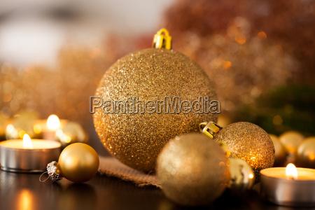 warm gold and orange christmas decoration