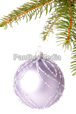 traditional christmas ball hung from a