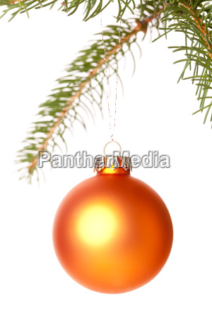 traditional christmas ball suspended from a