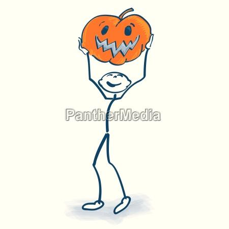 stick figure with pumpkin