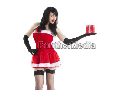 christmas woman with a gift