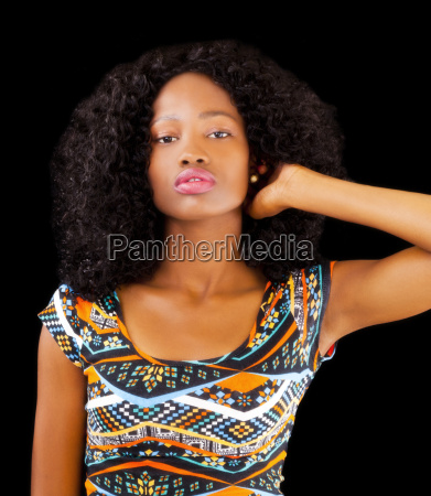 attractive african american teen woman patterned