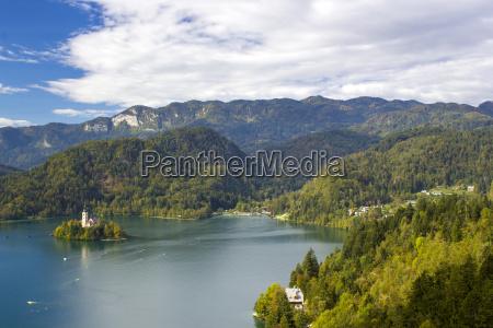 panoramic view of bled lake slovenia