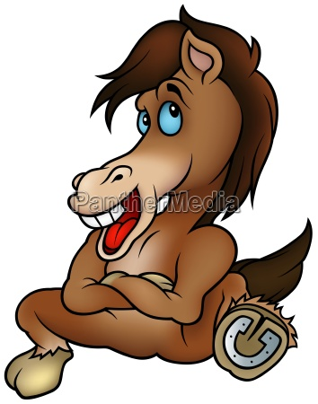 sitting brown horse colored cartoon