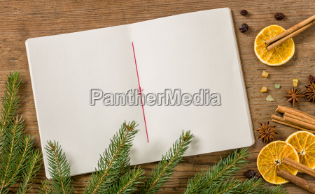 empty, recipe, book, with, christmas, decoration - 12698104