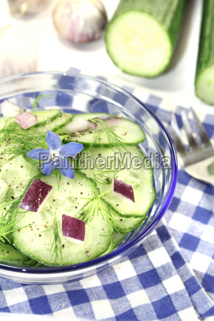 cucumber salad with onion and borage