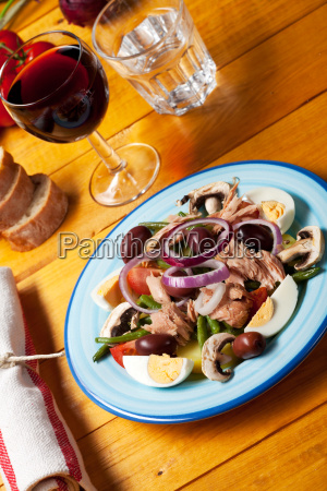 french salad nicoise on a plate