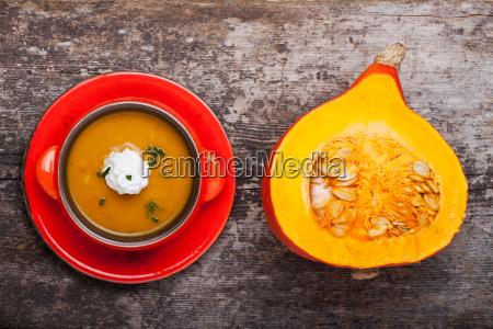 pumpkin soup and half hokkaido on