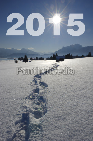 footprints in the snow shows the