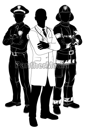 emergency services team silhouettes