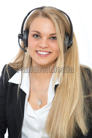 likeable woman with headset on her