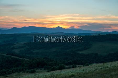 evening landscape in the ukrainian carpathians