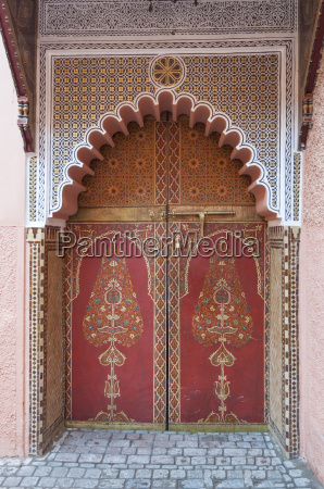 traditional oriental decorated door in marrakesh