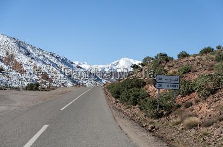 road through snow covered atlas mountains