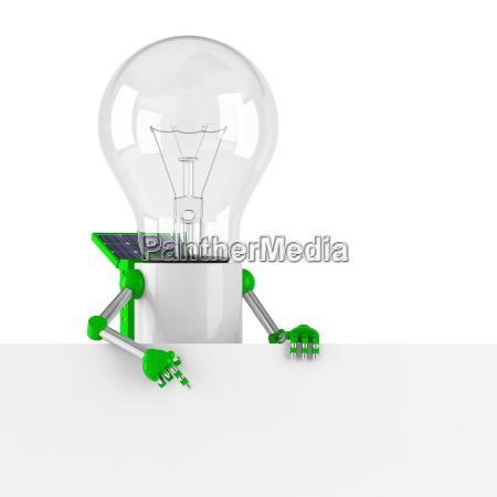 solar powered light bulb robot