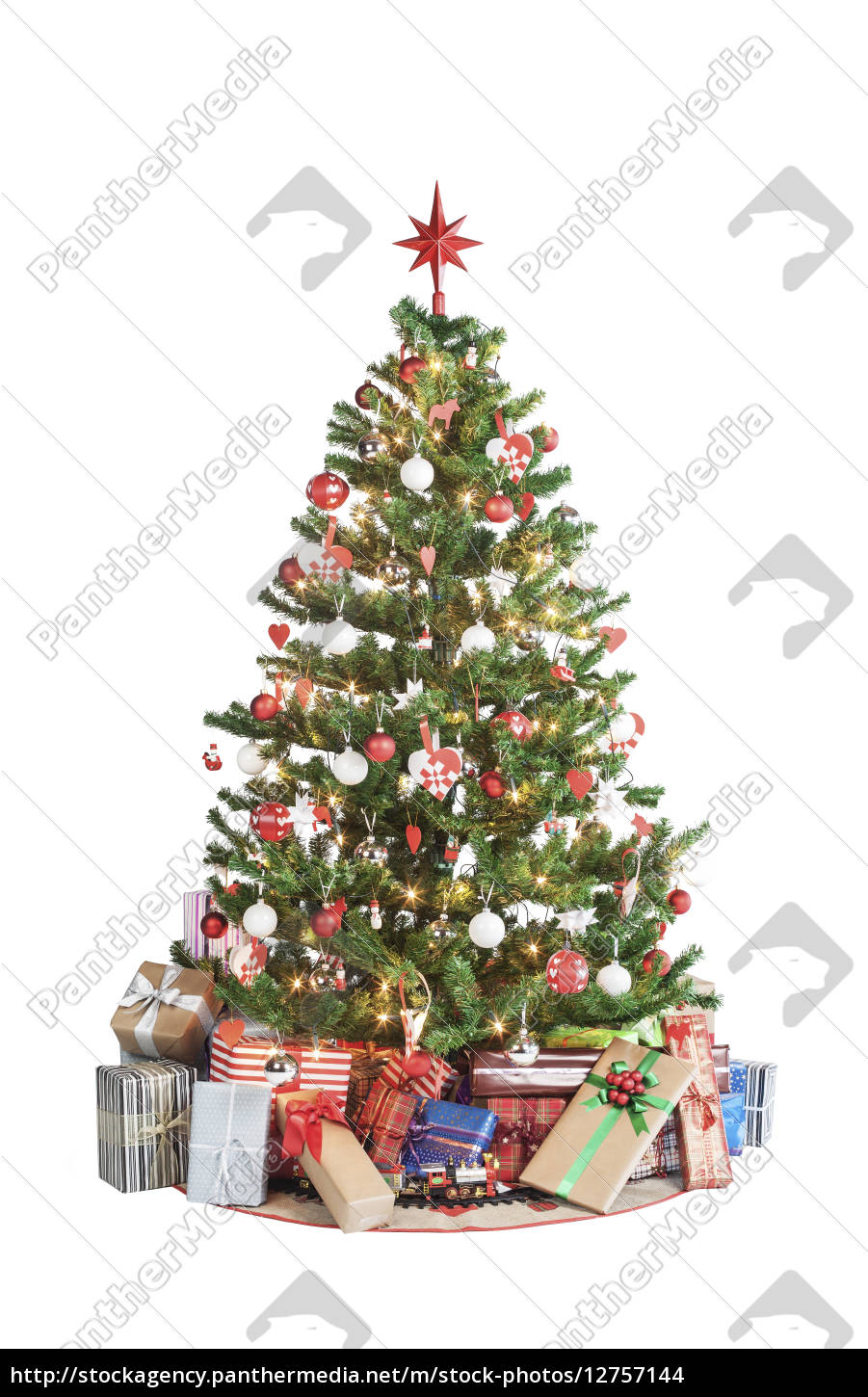 christmas, tree, with, presents - 12757144