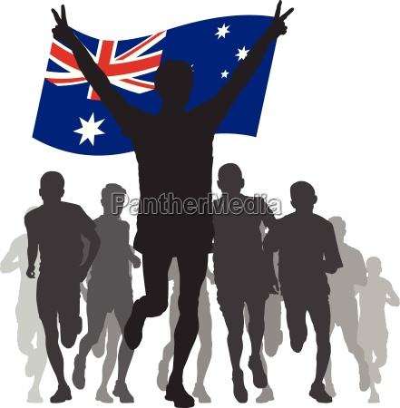 winner with the australia flag at