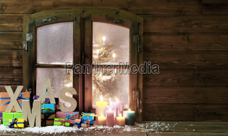 christmas items at vintage wooden window