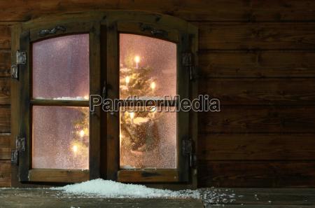 snow at small vintage window pane