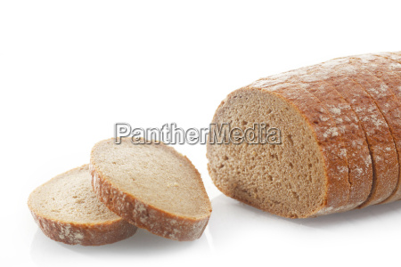 sliced salty bread on white background