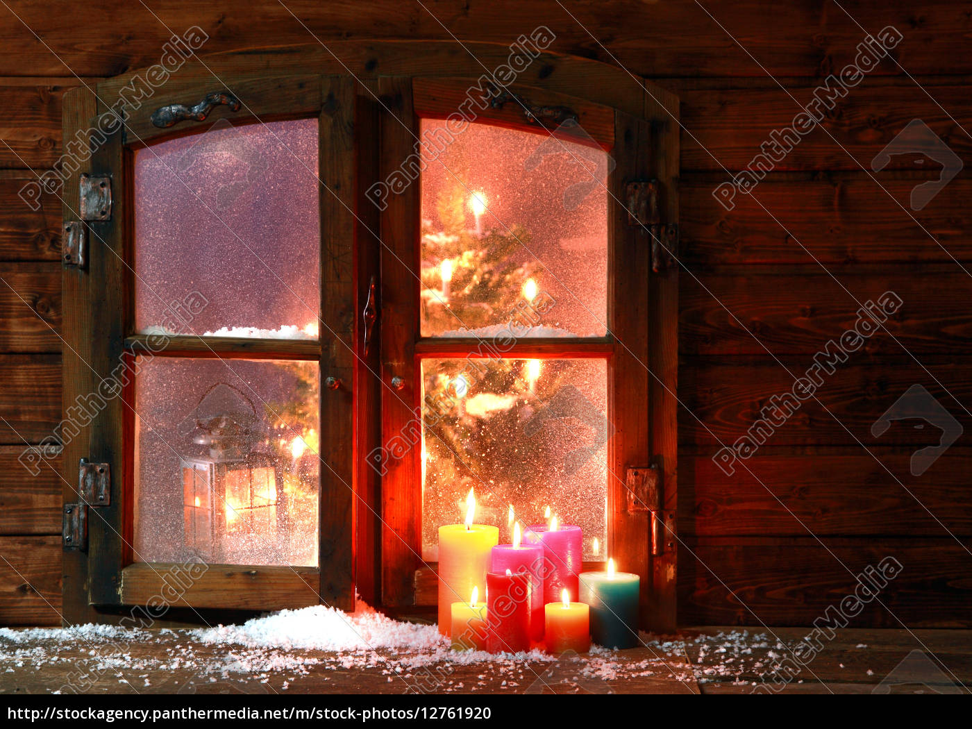 snow, and, candles, at, window, pane - 12761920