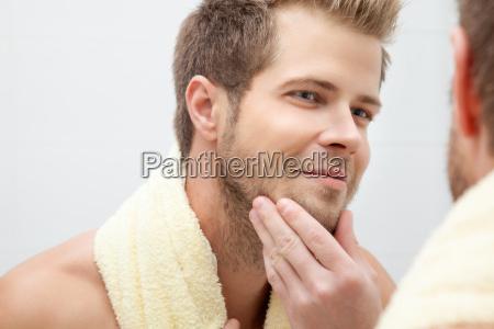 morning hygiene in the bathroom