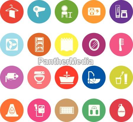 bathroom flat icons on white background