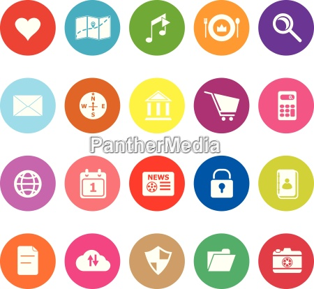 general application flat icons on white