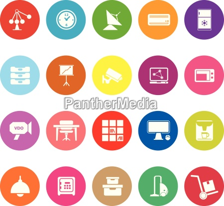 general office flat icons on white