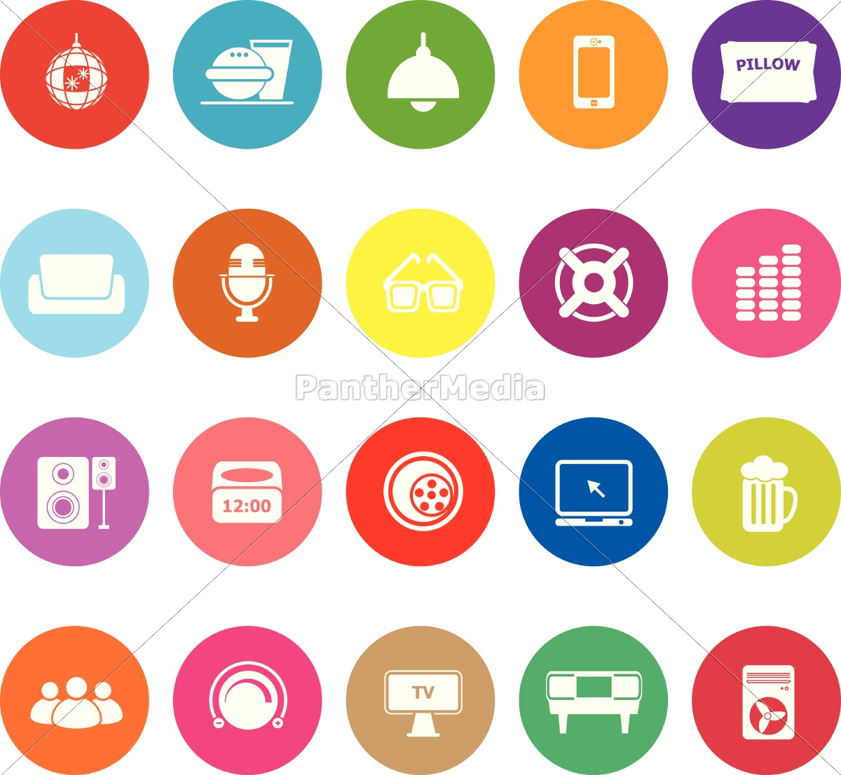 home, theater, flat, icons, on, white - 12779438