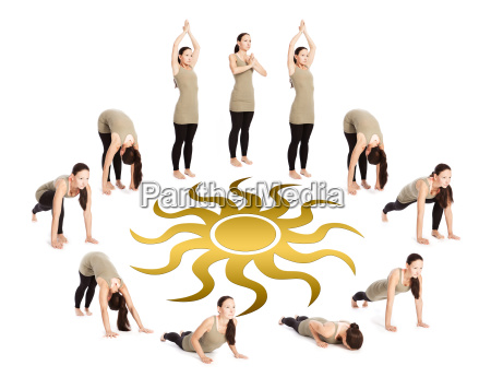 sequence of sun salutation with a