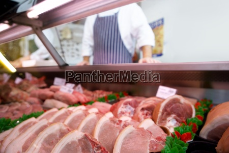 chops in butchers shop butcher in