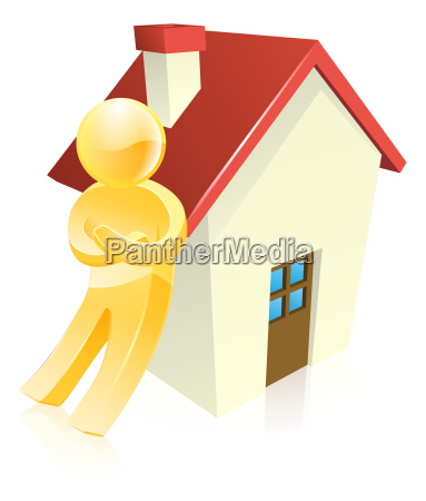 man leaning on house