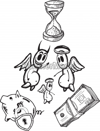 savings concept illustrations with angel and