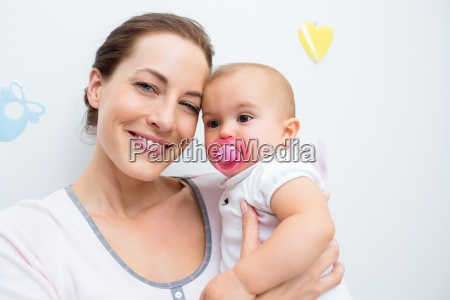 closeup of mother and baby with