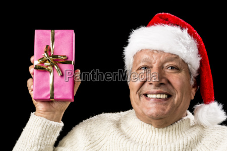 merry old man showcasing a pink