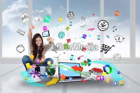 cheering girl using laptop with app