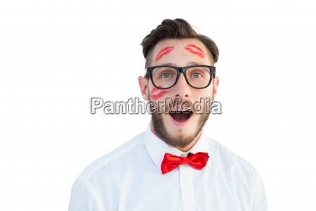 geeky hipster with kisses on his