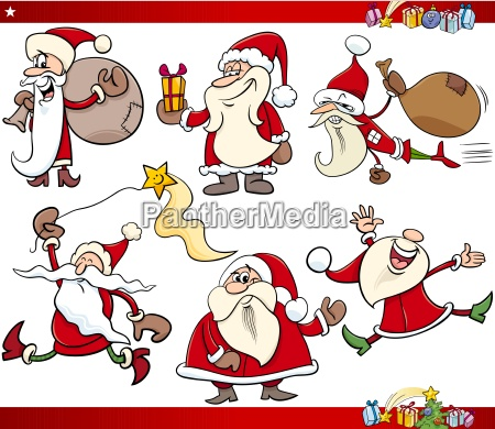 santa and christmas cartoon set