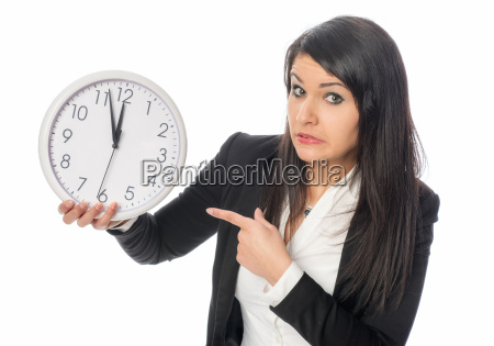 woman with wall clock