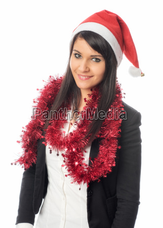 young christmas woman with tinsel