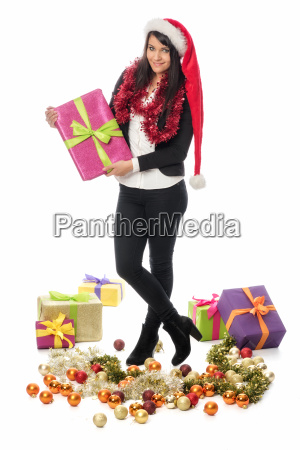 christmas woman with many gifts